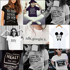 New Funny T-shirts Women men Short sleeve Tops Tee Black White Cotton On Sale
