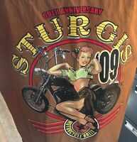 Mens '09 Sturgis 69th ann L brown denim buttondown sleeveless shirt pin up girl