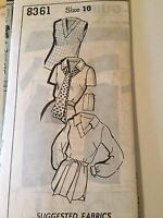 Vintage Womens Blouses Sue Burnett 8361 Mailorder Uncut Pattern Size 10 1960s