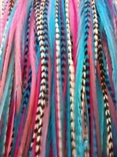 4-7 inch Gorgeous Pinks,Blues,Grizzly Remix 100% Real 5 Feather Extensions bond