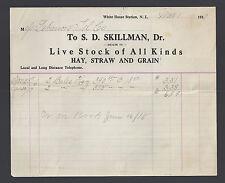 1917 S D Skillman White House Station New Jersey Letterhead x4 NJ Lebanon Telco