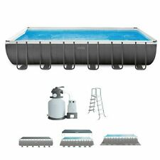 New listing Intex 24Ft X 12Ft X 52In Ultra Xtr Frame Rectangular Pool Set with Sand Filter