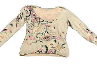etro Stampa silk Blend floral long sleeve Fitted Fine Knit pullover Size 48