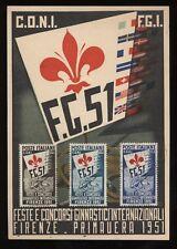 Repubblica 1951 Ginnici serie cpl su cartolina ufficiale annulli di favore N1016