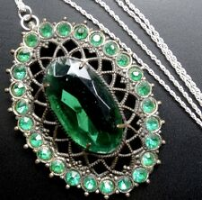 vintage art deco green rhinestone flower pendant 925 SILVER necklace -N129