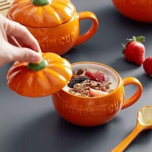Ceramic Pumpkin Soup Cup Coffee Milk Mug w/Lid Orange Handle Gift For Halloween