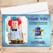 10 Personalised Boys Star Sparkle Birthday Thank You Photo Cards N247 Any Age