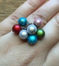 Striking Big Rainbow Bead Ring/Cluster/Multi Coloured/Statement/Chunky/Size N