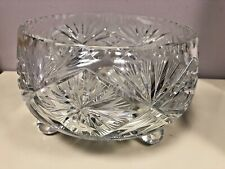 """BOHEMIAN HEAVY CUT CRYSTAL FOOTED 10 1/2"""" BOWL GORGEOUS!"""