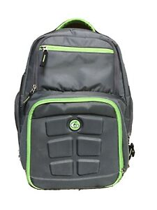 "Excellent! 6-PACK FITNESS MEAL PREP ""Travel Bag"" Laptop BACKPACK Grey/Green"