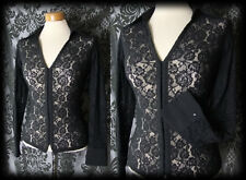 Gothic Black Lace Hook Up RUE MORGUE Fitted Blouse 6 8 Victorian Vintage