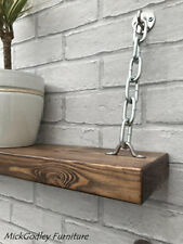 Set of 2 - Rustic Unique Industrial Floating Chain Brackets