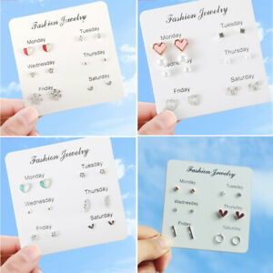 A Set of 6/9/12 Pairs Earrings Set Ladies Gold Ear Studs Allergy Free Wholesale