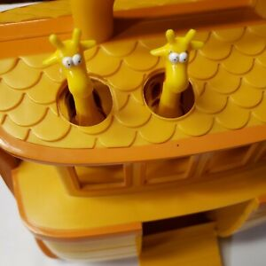 Noah's Ark Boat Play Set of 9 Pairs of Animals, plus Noah and Wife Yellow Orange