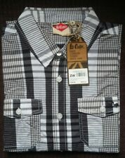 New Lee Cooper mens medium smart casual long sleeve shirt white/black check