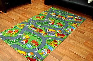 Restposten Kinderteppich Strassenteppich Spielteppich kurzflor Little Village