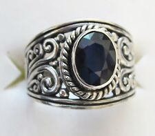 Artisan Designed Genuine Sapphire Ring, 925 Sterling Silver, sz 6 -- 1.67ct, 5g