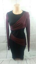 Moda International Black Burgundy Sheath Pencil Dress Long Sleeve Curve Loving