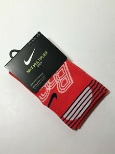 NIKE MULTIPLIER DRI-FIT CREW SOCK - RED - SMALL/3Y-5Y - 100% AUTHENTIC