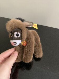 """STEIFF """"ASSY"""" never been used, mini donkey, HAS BOTH EAR AND CHEST TAGS"""