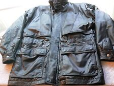 RARE 'NEW RIVER' J RIGGINGS BLACK LEATHER JACKET-LONG STYLE-MEASURES LARGE MENS-