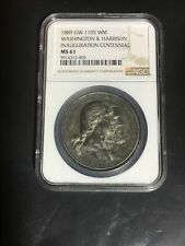 1889 Medal GW-1105 WM NGC MS61 Washington & Harrison RARE NON-DRILLED HOLE