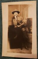 RPPC Antique Postcard of a Very Handsome Soldier in Uniform!
