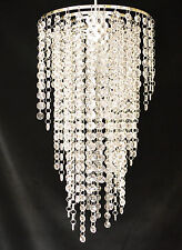 CHANDELIER STYLE CLEAR JEWELLED ACRYLIC PENDANT CEILING SHADE