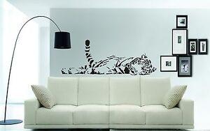 SLEEPING TIGER Wall Art Sticker, Decal, Mural, Wildlife wall art - 1m x 41cms