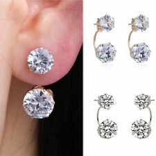Women Jewelry Silver Double Beads Crystal Hook Stud Earrings