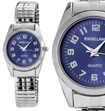 Damenuhr Armbanduhr Blau/Silber Metall Zugarmband Zugband 1700023 von Excellanc