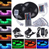 5M 3528 5050 SMD RGB White Flexible Lights LED Strip + 12V Power + IR Remote UK