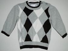 H&M Baby Boy's Argyle Holiday Sweater Size 6-9 Months Gray White & Brown