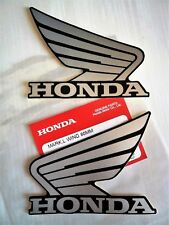 Honda Fuel Tank Wing Decal Wings Sticker x 2 BLACK & SILVER W100mm x H85mm