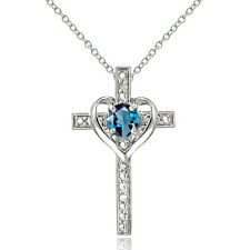 Sterling Silver London Blue Topaz and Diamond Accent Cross Necklace