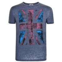 pepe jeans Boyd Union Jack Mens Grey Blue Top T Shirt Tee XL