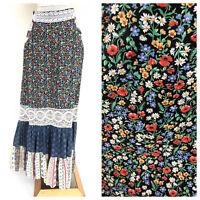 Vintage VTG 1970s 70s Gunne Sax Patchwork Floral Peasant Maxi Skirt