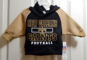 Kids sz 12M  NFL Team Apparel New Orleans Saints Football Hoodie Black/Gold NWT