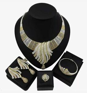 Gold & Silver Trendy Design Cubic Zirconia Jewellery Set Nigeria Wedding Party