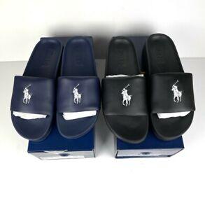 Polo Ralph Lauren Cayson Pony Beach Pool Holiday Slides Sandals BLACK / NAVY