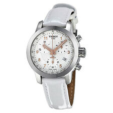 Tissot PRC200 Chronograph Silver Dial White Leather Ladies Watch T0552171603201
