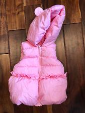 Gymboree Vest Size 3T Toddler Girls Pink Sparkles Bear Hood Puffer Jacket Fluffy