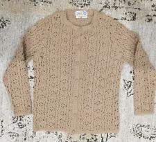 Snowflakes Vintage Cardigan Large Womens Beige Crochet Pure Wool
