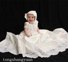2017 Baby Infant Toddler Christening Gowns White Ivory Baptism Dresses +Bonnet