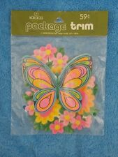 Vintage Norcross Package Trim Butterfly & Flowers New in Package