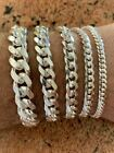 """Mens Real Solid 925 Sterling Silver Miami Cuban Bracelet 4-12mm 6.5-9""""Heavy Link"""