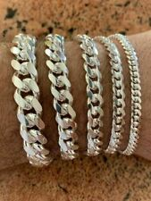 """Mens Real Solid 925 Sterling Silver Miami Cuban Bracelet 5-12mm 7-9"""" Heavy Link"""