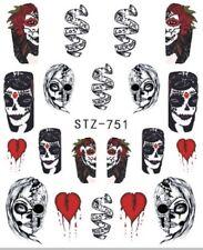 Nail Art Stickers Water Decals Transfers Horror Halloween Skulls (STZ751)