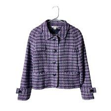Pendelton Blazer Jacket Wool Womens Size 8P Purple Plaid Buttons