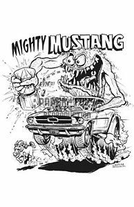 """1965 -  MIGHTY MUSTANG - RAT FINK - ED """"BIG DADDY"""" ROTH MONSTER POSTER"""